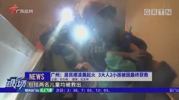 广州:居民楼凌晨起火 3大人2小孩被困最终获救