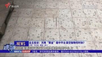 """业主投诉:天降""""黄金""""砸中平台 高空抛物何时休?"""