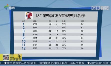 18/19赛季CBA常规赛排名榜