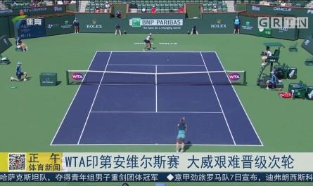 WTA印第安维尔斯赛 大威艰难晋级次轮