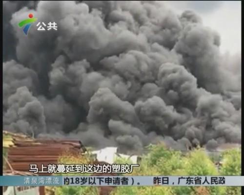 东莞一废品厂起火 幸无人员伤亡
