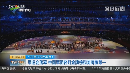 133金239枚奖牌!军运会落幕 中国军团名列金牌榜和奖牌榜第一