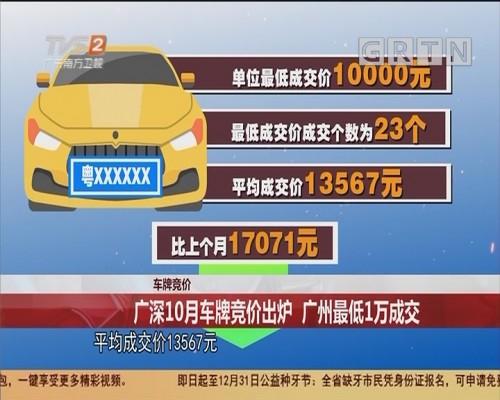 车牌竞价:广深10月车牌竞价出炉 广州最低1万成交