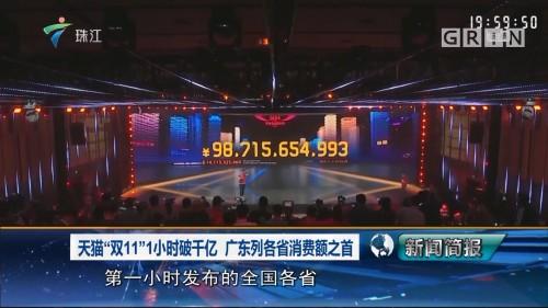 """天猫""""双11""""1小时破千亿 广东列各省消费额之首"""