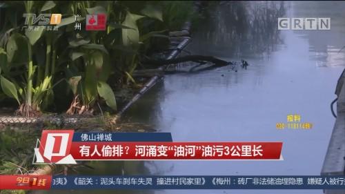 """佛山禅城 有人偷排?河涌变""""油河""""油污3公里长"""