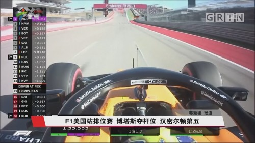 F1美国站排位赛 博塔斯夺杆位 汉密尔顿第五