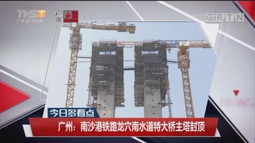 广州:南沙港铁路龙穴南水道特大桥主塔封顶