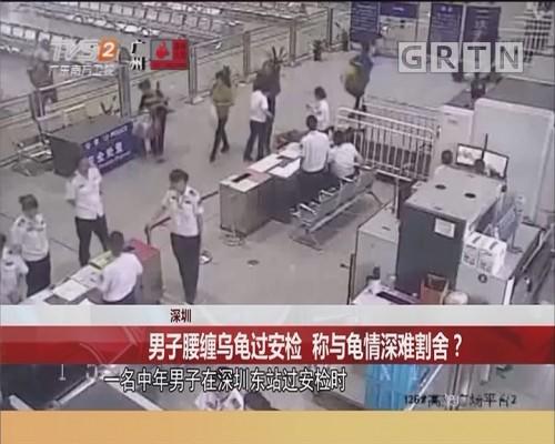 深圳 男子腰缠乌龟过安检 称与龟情深难割舍?