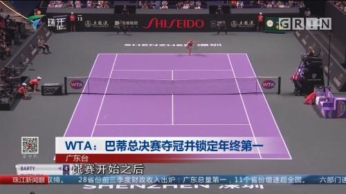 WTA:巴蒂总决赛夺冠并锁定年终第一