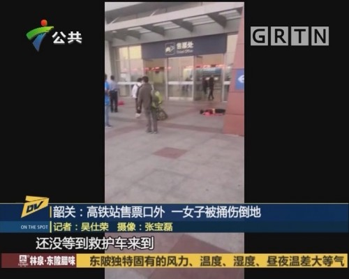 (DV现场)韶关:高铁站售票口外一女子被捅伤倒地