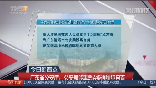 广东省公安厅:公安部涉黑恶A级通缉犯自首