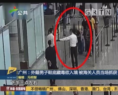 (DV现场)广州:外籍男子鞋底藏毒欲入境 被海关人员当场抓获