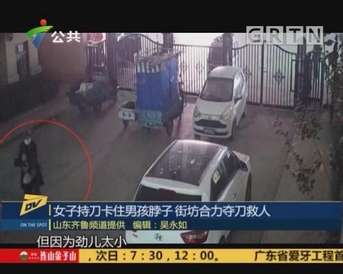 (DV现场)女子持刀卡住男孩脖子 街坊合力夺刀救人