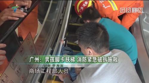广州:男孩脚卡扶梯 消防紧急破拆施救
