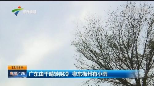 广东由干晴转阴冷 粤东梅州有小雨