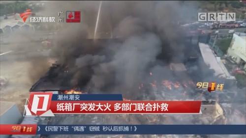 潮州潮安:纸箱厂突发大火 多部门联合扑救