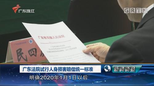 广东法院试行人身损害赔偿统一标准