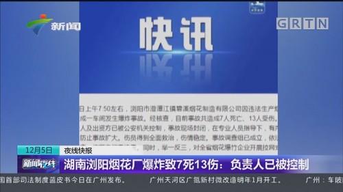 湖南浏阳烟花厂爆炸致7死13伤:负责人已被控制