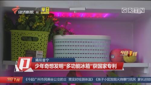 """揭阳普宁 少年奇想发明""""多功能冰箱""""获国家专利"""