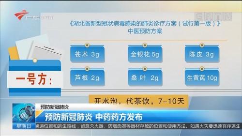 预防新冠肺炎 预防新冠肺炎 中药药方发布