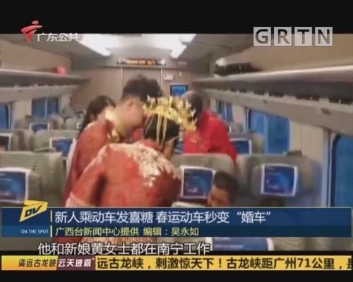 """新人乘动车发喜糖 春运动车秒变""""婚车"""""""