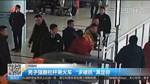"""江苏扬州:男子强翻栏杆乘火车 """"求被抓""""满足你"""