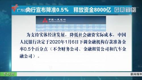 央行宣布降準0.5%  釋放資金8000億