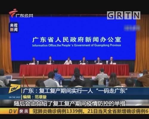 "(DV现场)广东:复工复产期间实行一人""一码走广东"""