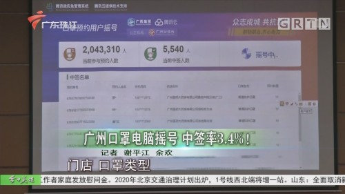 广州口罩电脑摇号 中签率3.4%!