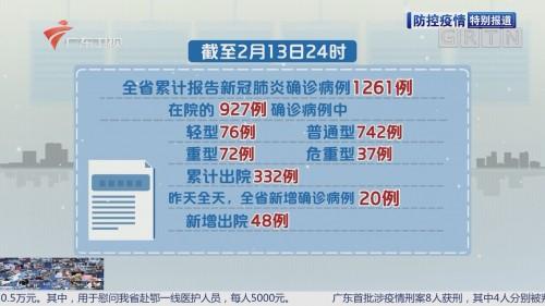 全省新增确诊病例20例 累计1261例(2月13日24时)