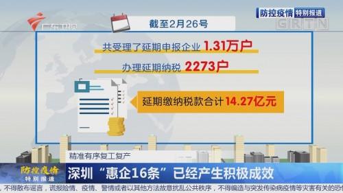 """深圳""""惠企16条""""已经产生积极成效"""