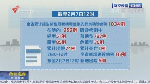 全省新增确诊病例16例 累计1034例(2月7日1时)