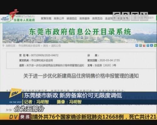 (DV现场)东莞楼市新政 新房备案价可无限度调低