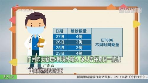 广州昨天新增8例境外输入 多人曾搭乘同一航班