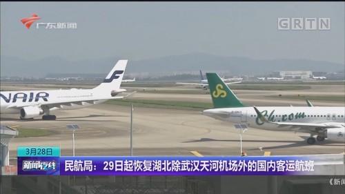 民航局:29日起恢复湖北除武汉天河机场外的国内客运航班