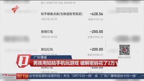 广州增城:男孩用姑姑手机玩游戏 破解密码花了2万1
