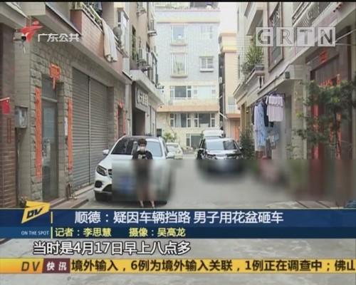 (DV现场)顺德:疑因车辆挡路 男子用花盆砸车