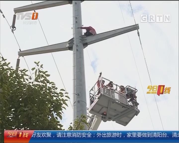 潮州:女子爬高压线塔 消防6小时营救