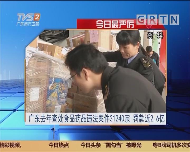 今日最严厉:广东去年查处食品药品违法案件31240宗 罚款近2.6亿