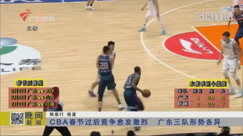 CBA春节过后竞争愈发激烈 广东三队形势各异
