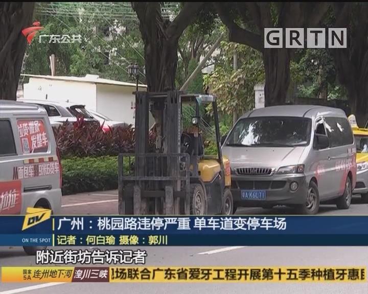 广州:桃园路违停严重 单车道变停车场
