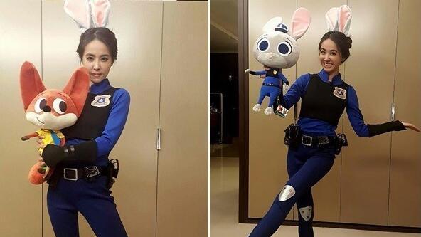 近日更打扮成人气动画片《疯狂动物城》中的兔子警官