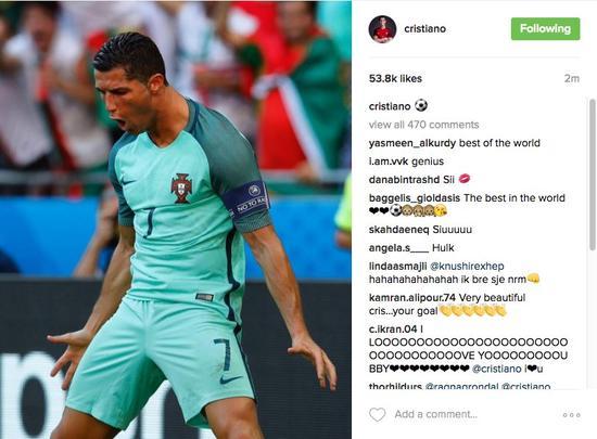 C罗赛后更新Instagram
