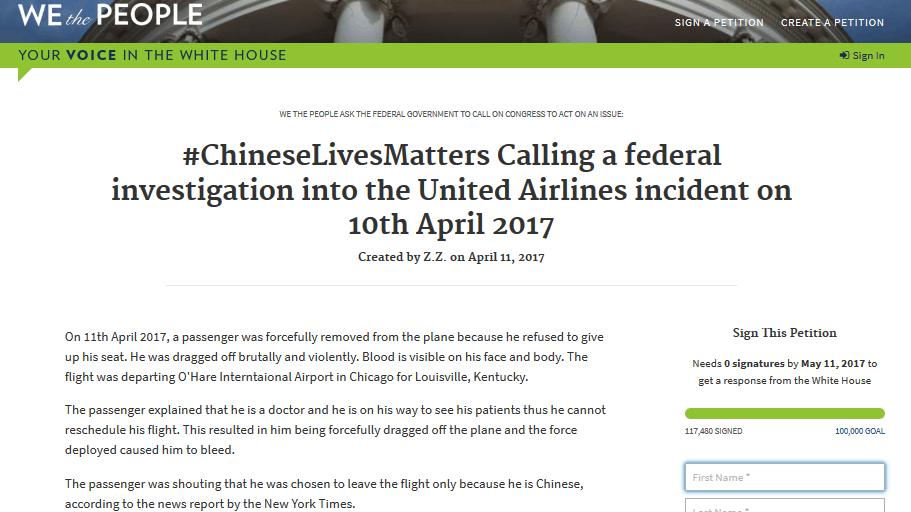 美联航暴力驱赶亚裔乘客离机 已有超10万人白宫请愿促调查