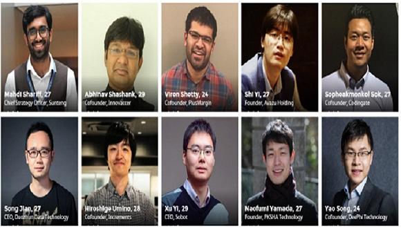 福布斯30岁以下亚洲精英榜上的年轻创业者