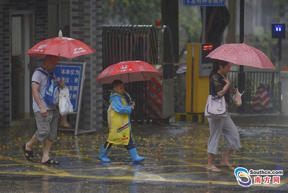 上班路上,广州电闪雷鸣暴雨如注