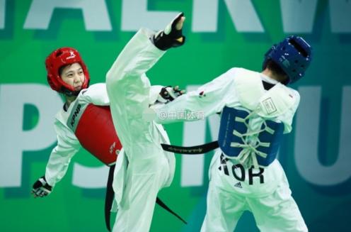 中国跆拳道女将击败奥运冠军 跻身世锦赛4强