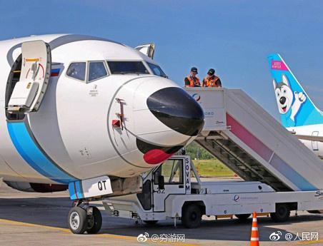 萌!俄罗斯一航空公司给飞机换上哈士奇涂装(组图)