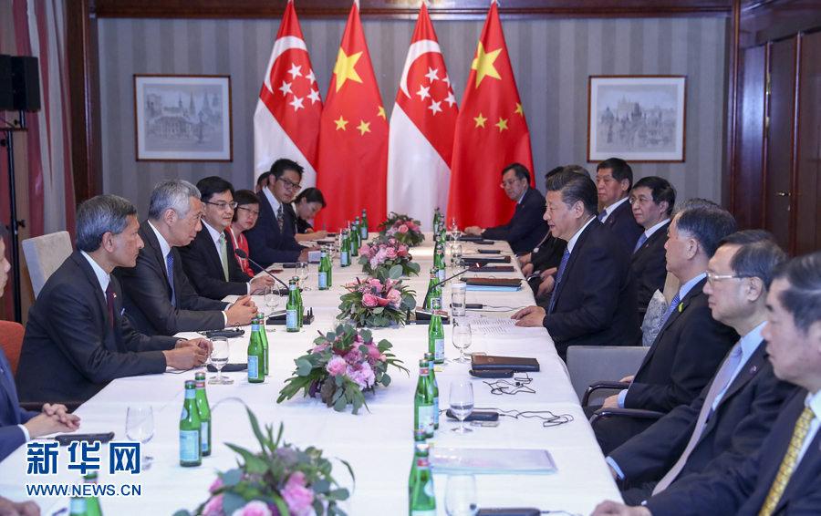 7月6日,国家主席习近平在汉堡会见新加坡总理李显龙。 新华社记者谢环驰 摄