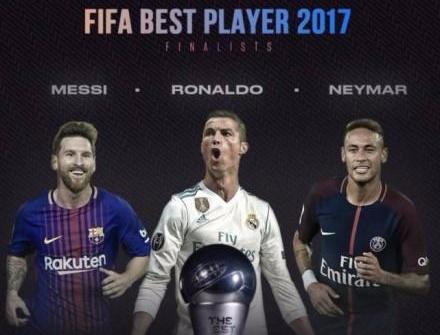 FIFA世界足球先生候选出炉:梅西C罗内马尔三人PK